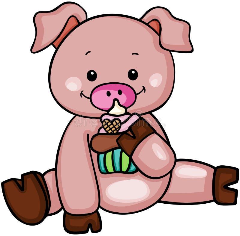 Милая свинья есть пирожное иллюстрация вектора