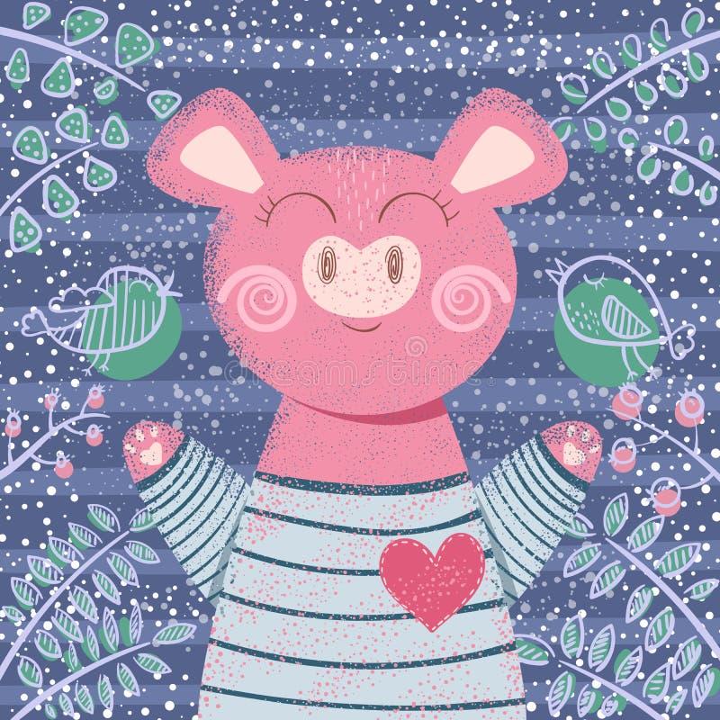Милая свинья зимы - иллюстрация детей стоковая фотография rf