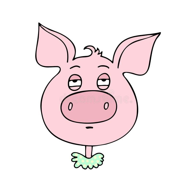 Милая свинья имеет выражение скуки иллюстрация вектора