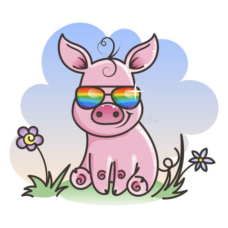 Милая свинья младенца шаржа в стеклах холодных радуги иллюстрация вектора