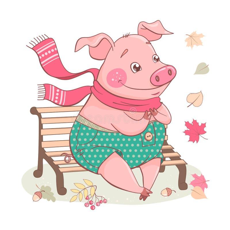 Милая свинья мультфильма сидя на стенде иллюстрация штока