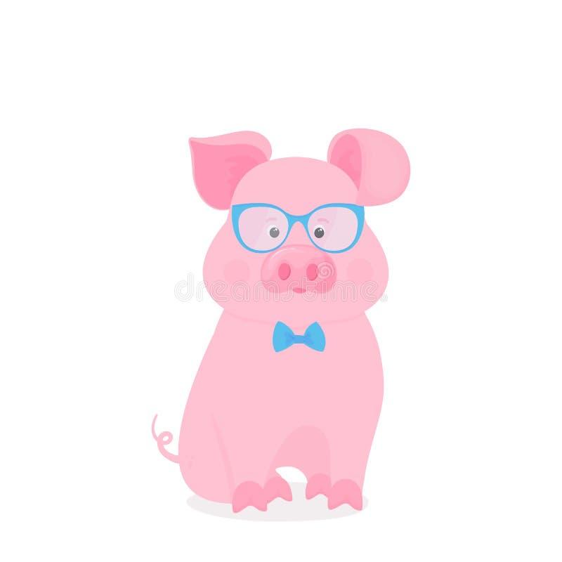 Милая свинья сидит в стеклах и бабочке смешное piggy Символ китайского Нового Года бесплатная иллюстрация