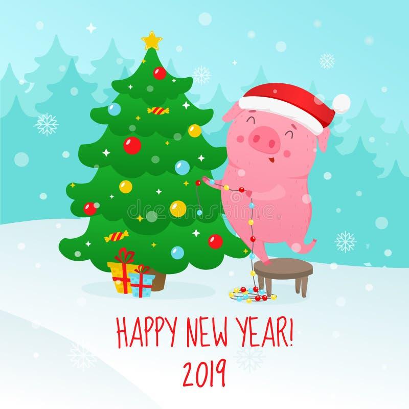 Милая свинья шаржа украшает рождественскую елку Символ 2019 новый y иллюстрация штока