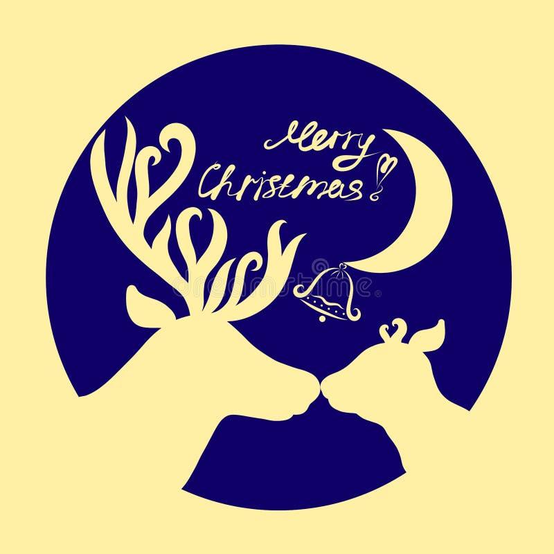 Милая семья и поздравления оленей на рождестве бесплатная иллюстрация
