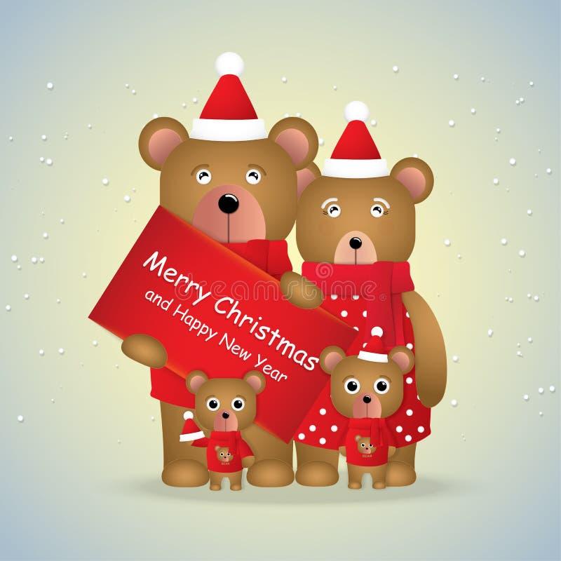 Милая семья мультфильма бурых медведей и карты подарка на сезон зимы стоковые изображения