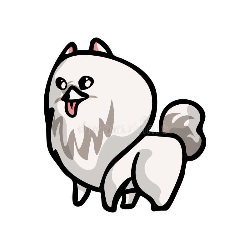 Милая смешная белая собака шпица цвета, ждать еда бесплатная иллюстрация