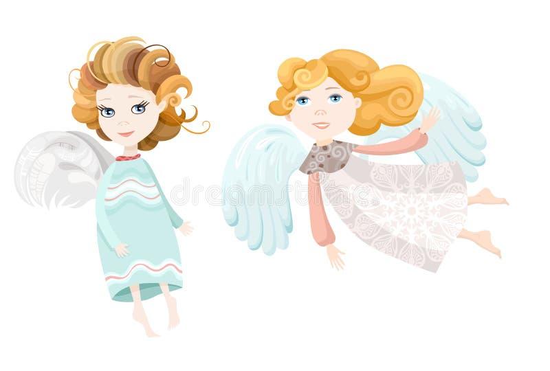 Милая смешная красивая иллюстрация ангелов иллюстрация вектора