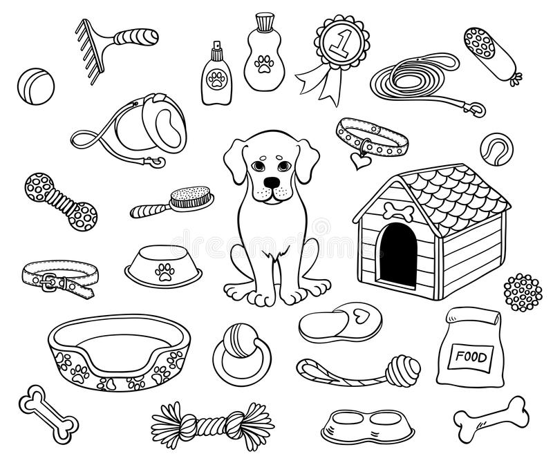 Милая собака и вещи иллюстрация вектора
