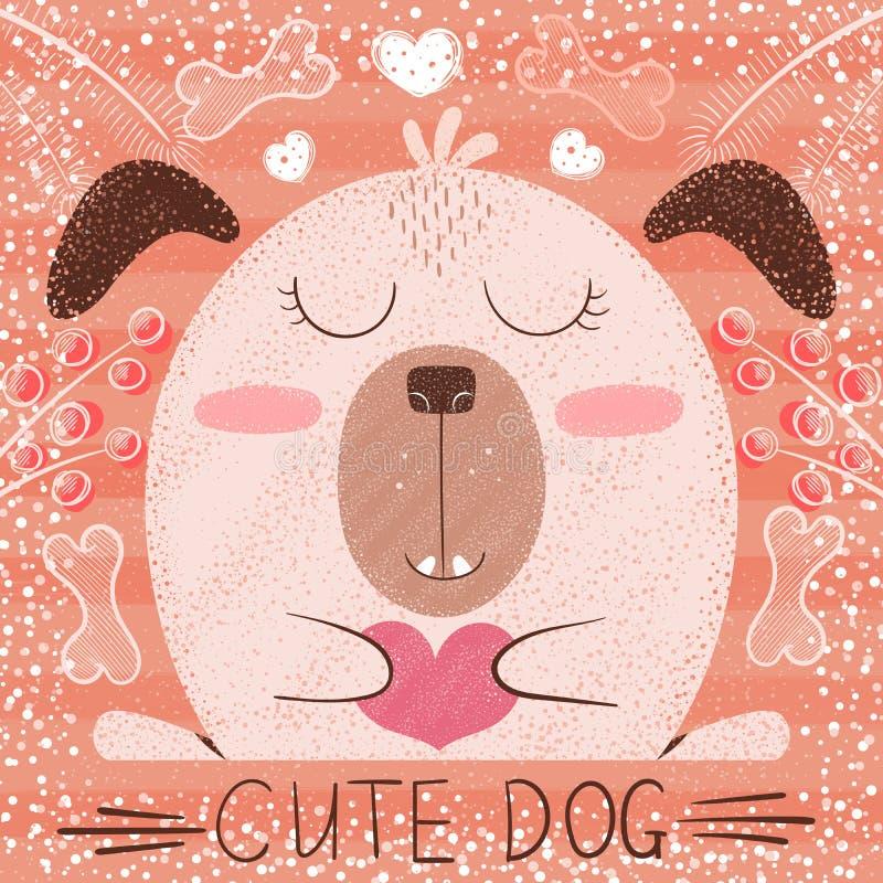 Милая собака мультфильма - смешная иллюстрация стоковое изображение rf