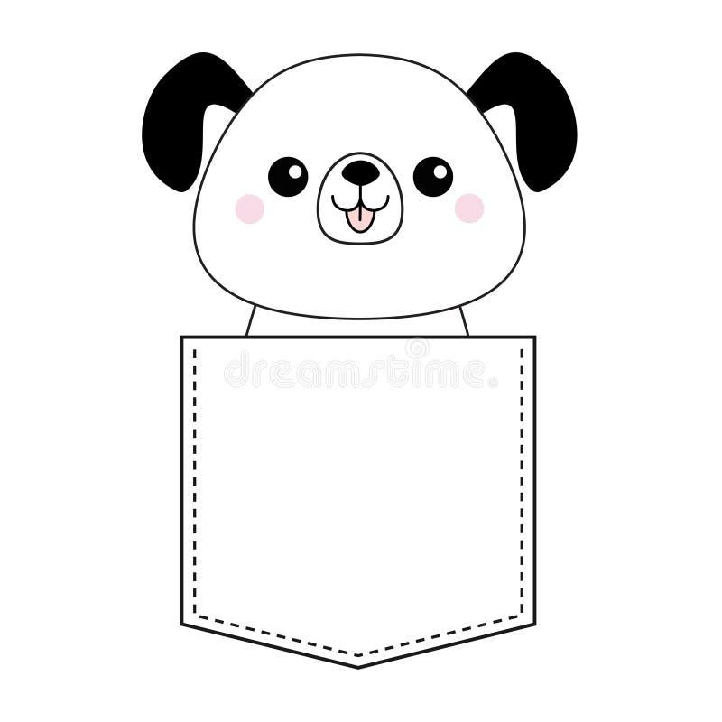Милая собака шаржа в карманн Эскиз контура Doodle линейный Характер дворняжки щенка животный смешной любимчик Штриховой пунктир ч бесплатная иллюстрация