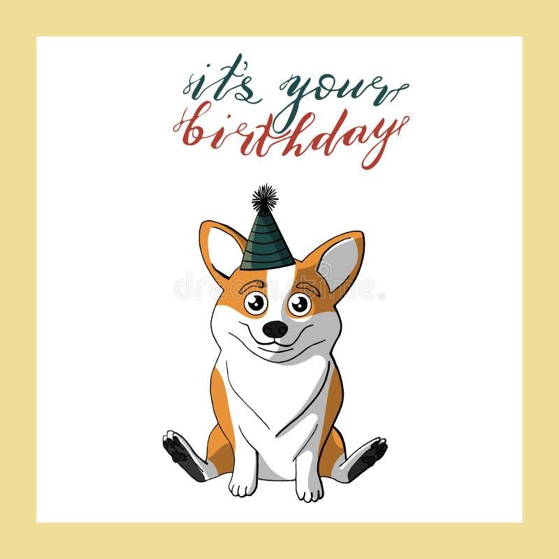 Милая собака corgi в шляпе дня рождения конуса рука помечая буквами свой ваш день рождения Шаблон поздравительной открытки праздн иллюстрация штока