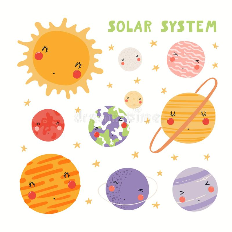 Милая солнечная система иллюстрация штока
