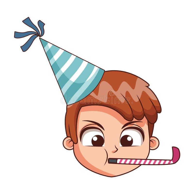 Милая сторона мальчика на дне рождения иллюстрация вектора