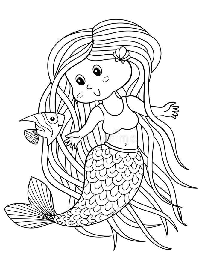 Милая страница книжка-раскраски doodle русалки для взрослого бесплатная иллюстрация