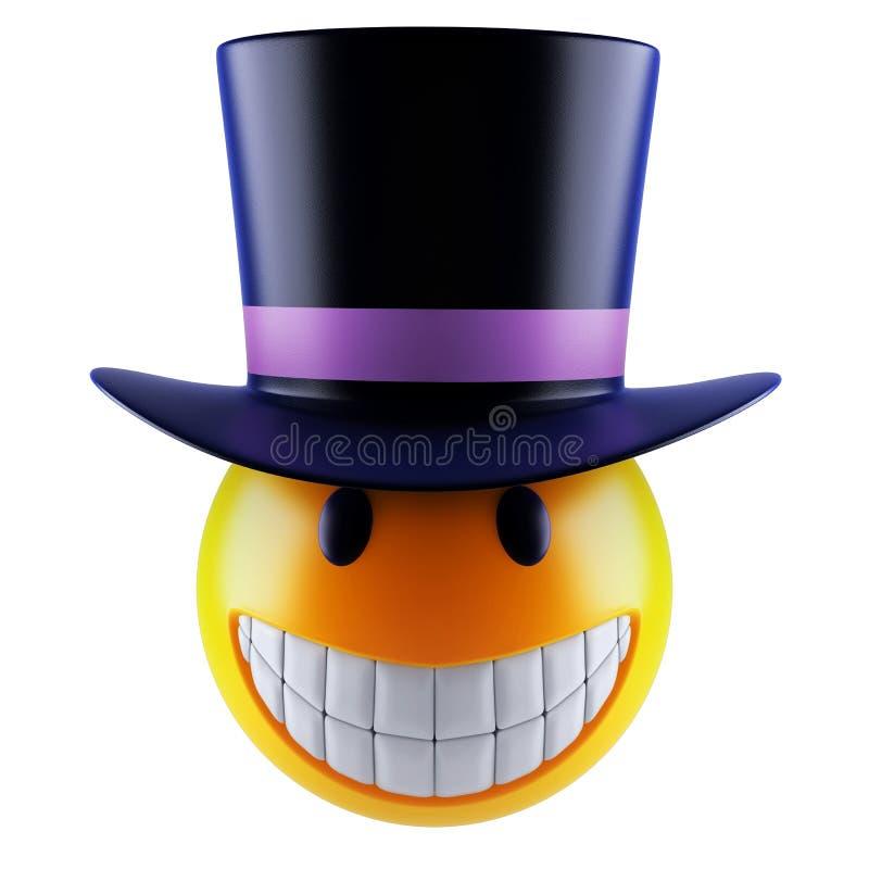 Милая сфера emoji улыбки с викторианской верхней шляпой иллюстрация штока
