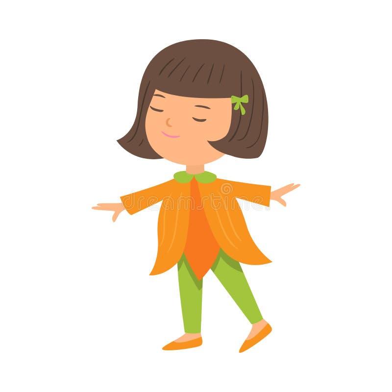 Милая счастливая девушка брюнета в оранжевых одеждах цветка иллюстрация вектора