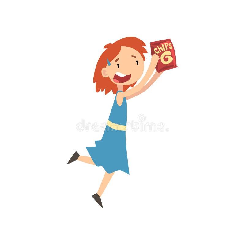 Милая счастливая девушка с пакетом обломоков, ребенок наслаждаясь едой иллюстрации вектора фаст-фуда бесплатная иллюстрация