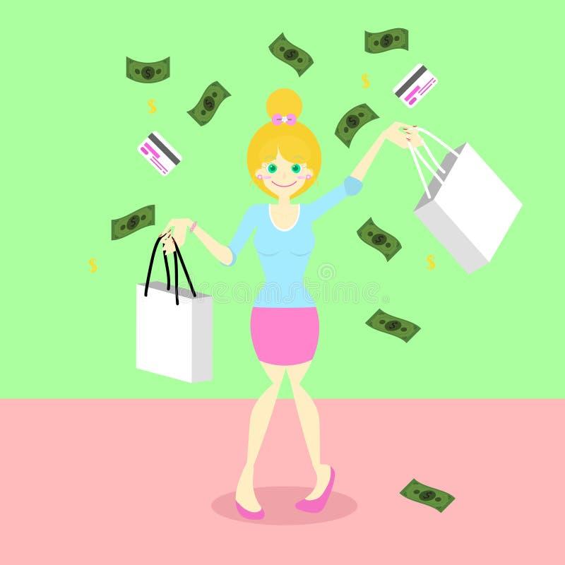 Милая счастливая концепция хозяйственной сумки удерживания девушки под падая кредитной карточкой денег и иллюстрация вектора