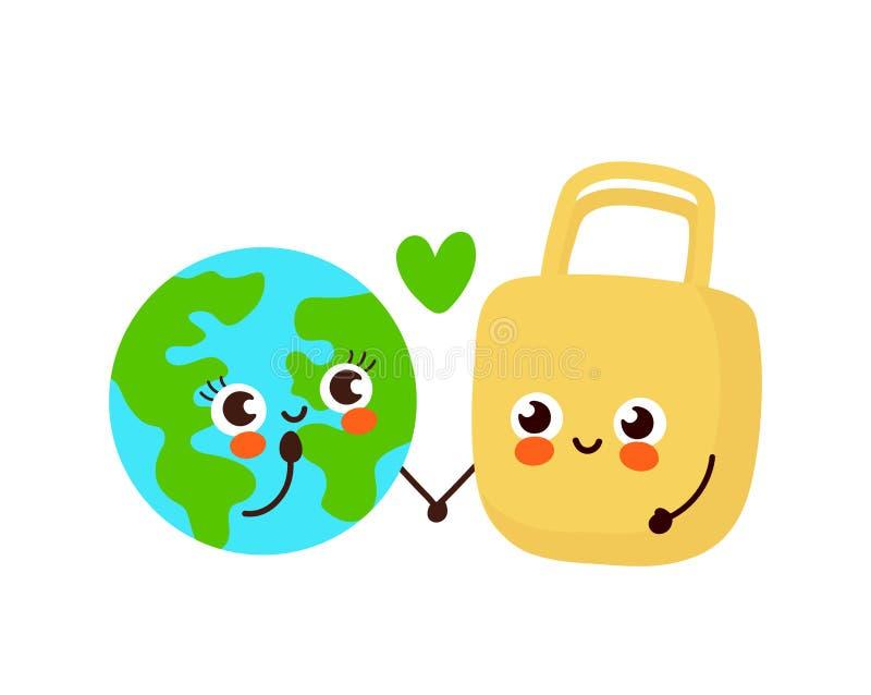 Милая счастливая планета земли и сумка eco иллюстрация вектора