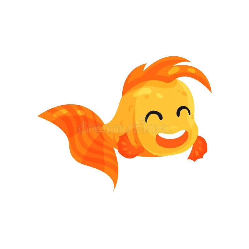 Милая счастливая рыбка, смешная иллюстрация вектора персонажа из мультфильма рыб на белой предпосылке иллюстрация штока