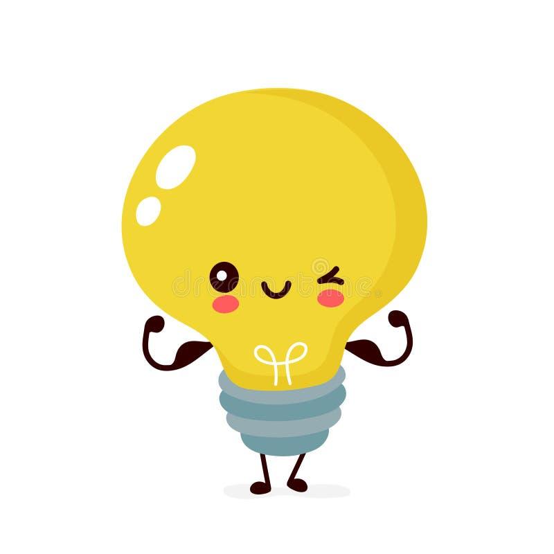 Милая счастливая усмехаясь электрическая лампочка иллюстрация вектора