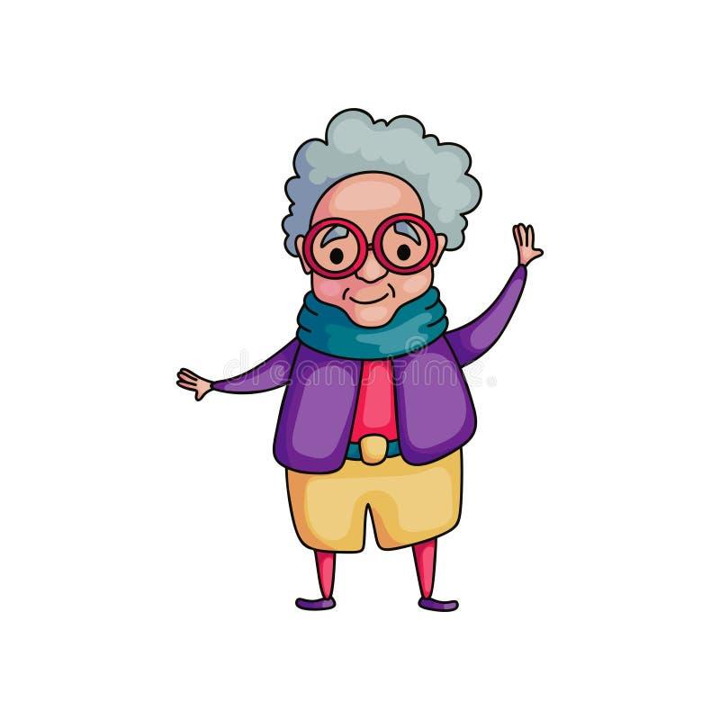 Милая танцуя старшая женщина в пурпурной куртке с красными eyeglasses бесплатная иллюстрация