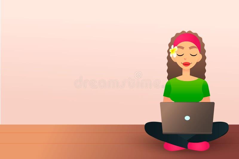 Милая творческая девушка сидит на деревянном поле и изучает с компьтер-книжкой Красивая девушка шаржа используя тетрадь женщина иллюстрация штока