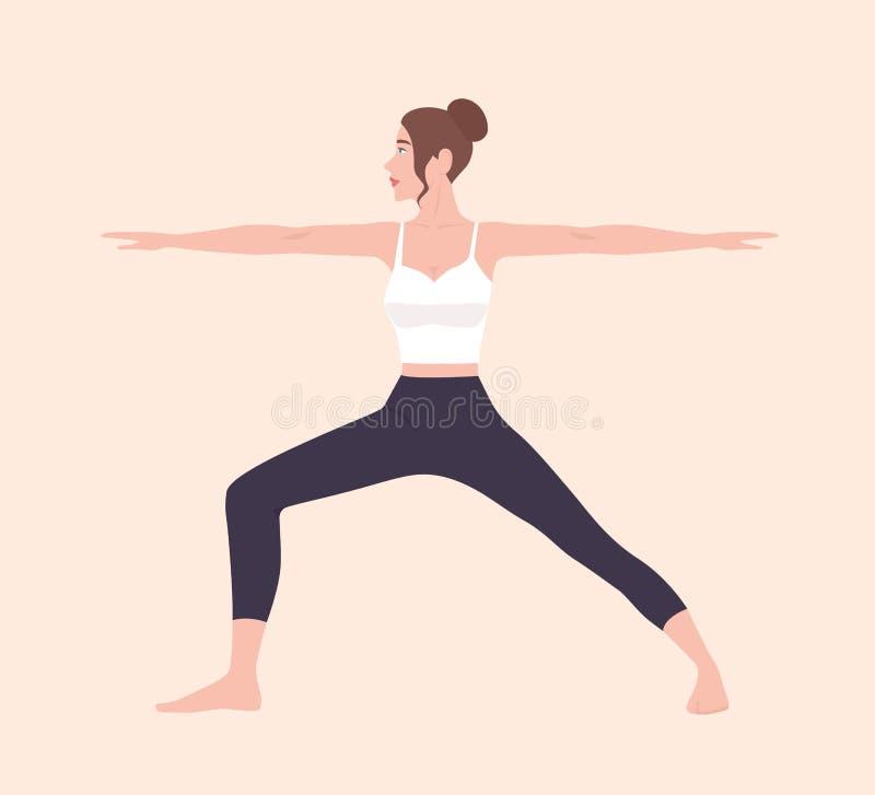 Милая тонкая женщина в Virabhadrasana II или представлении воина Женский персонаж из мультфильма демонстрируя позицию йоги Hatha  иллюстрация штока