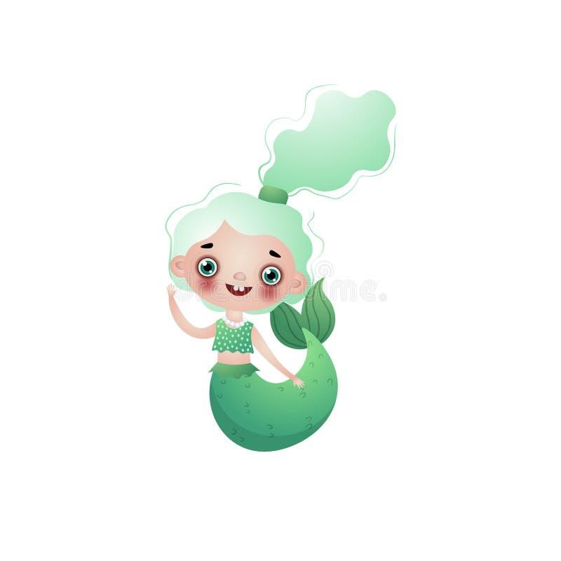 Милая усмехаясь девушка русалки с зелеными волнистыми завязанными волосами изолированными на белой предпосылке иллюстрация штока