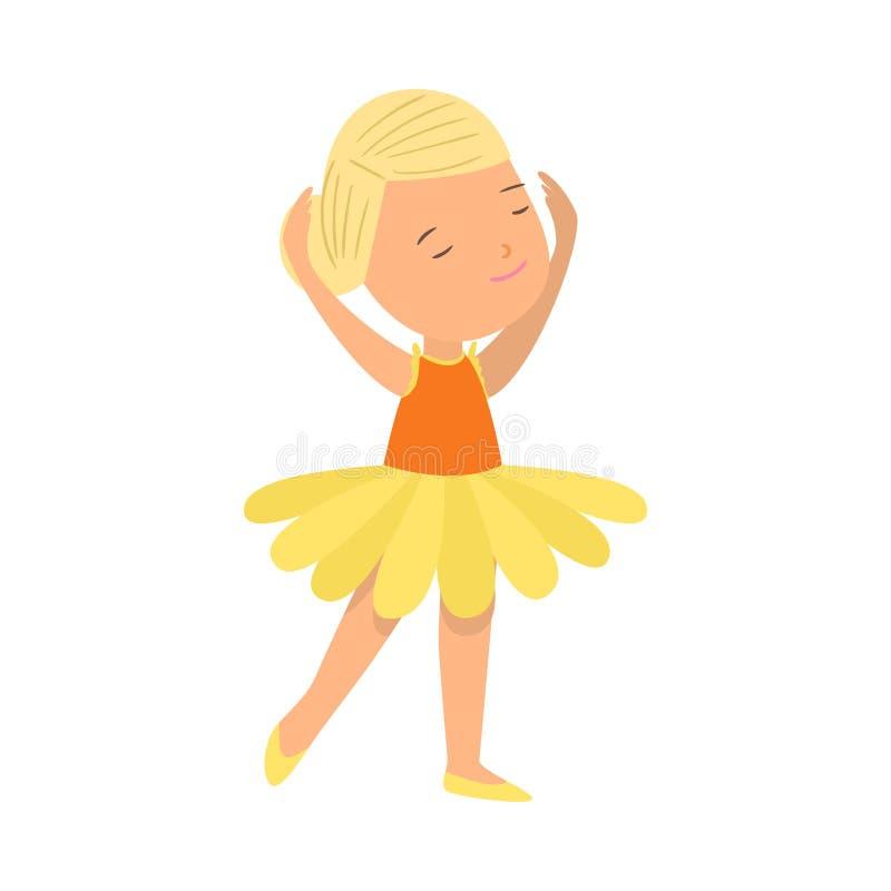 Милая усмехаясь девушка светлых волос в одеждах балета желтых бесплатная иллюстрация