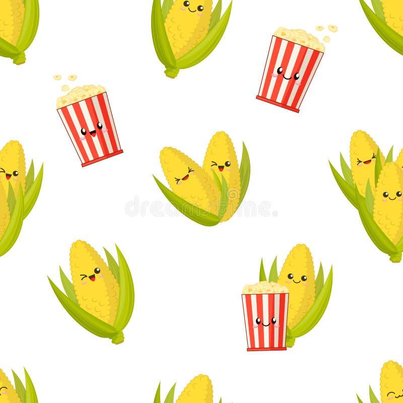 Милая усмехаясь мозоль на ударах и ведрах попкорна, картине kawaii бесплатная иллюстрация