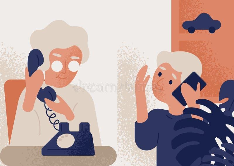 Милая усмехаясь пожилая женщина говоря по телефону с мальчиком Бабушка и внук связывая через телефон Переговор иллюстрация вектора