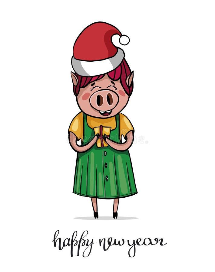 Милая усмехаясь piggy девушка в красивом платье и крышке Санта Характер держит подарок иллюстрация штока