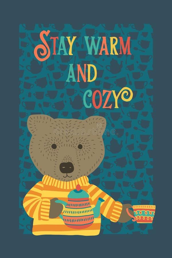 Милая уютная иллюстрация вектора времени чаепития медведя бесплатная иллюстрация