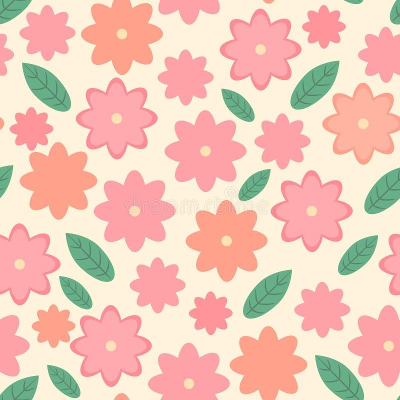 Милая флористическая безшовная картина, дизайн сногсшибательного вектора весны бесконечный с розовыми цветками и зеленые листья бесплатная иллюстрация