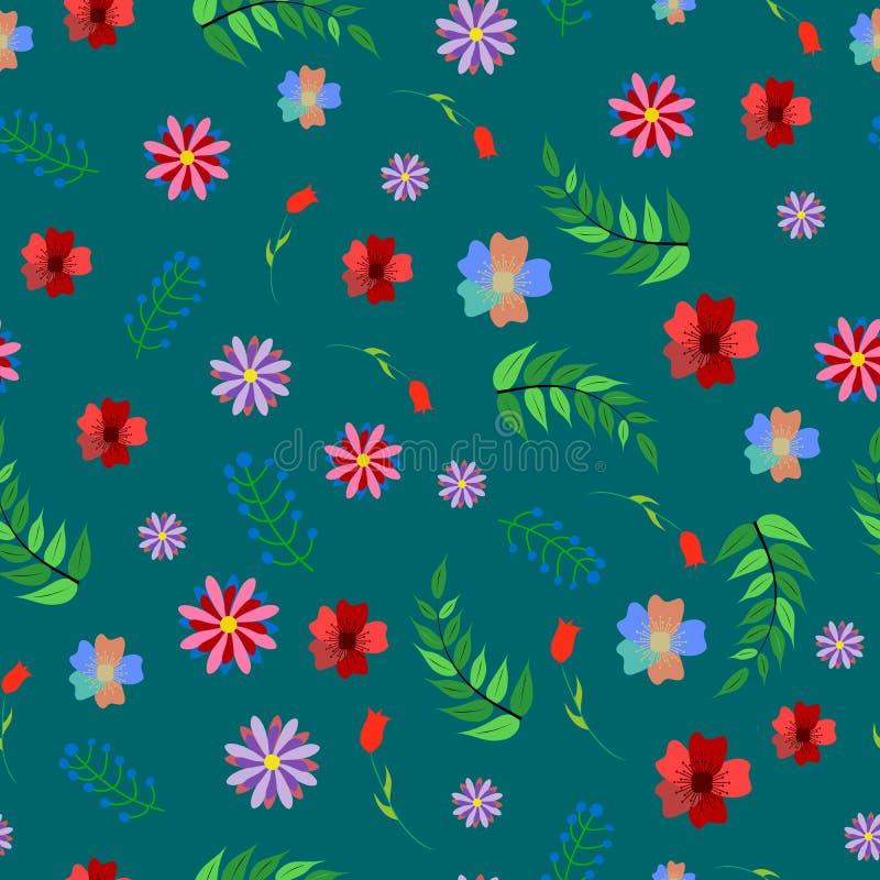 Милая флористическая безшовная картина с абстрактными цветком и заводами Красочная предпосылка для печатей иллюстрация штока