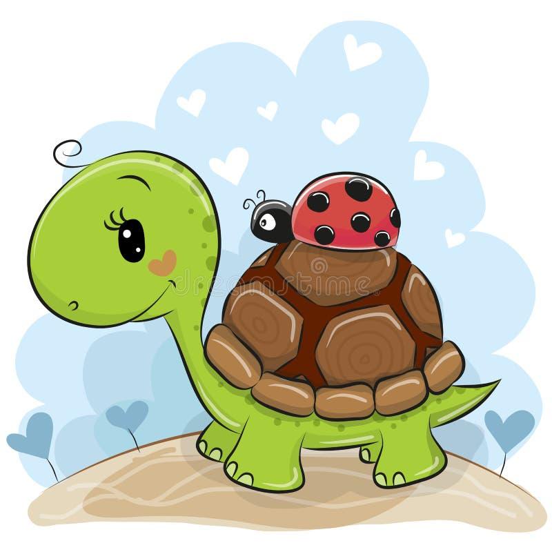 Милая черепаха Cartonn с ladybug бесплатная иллюстрация