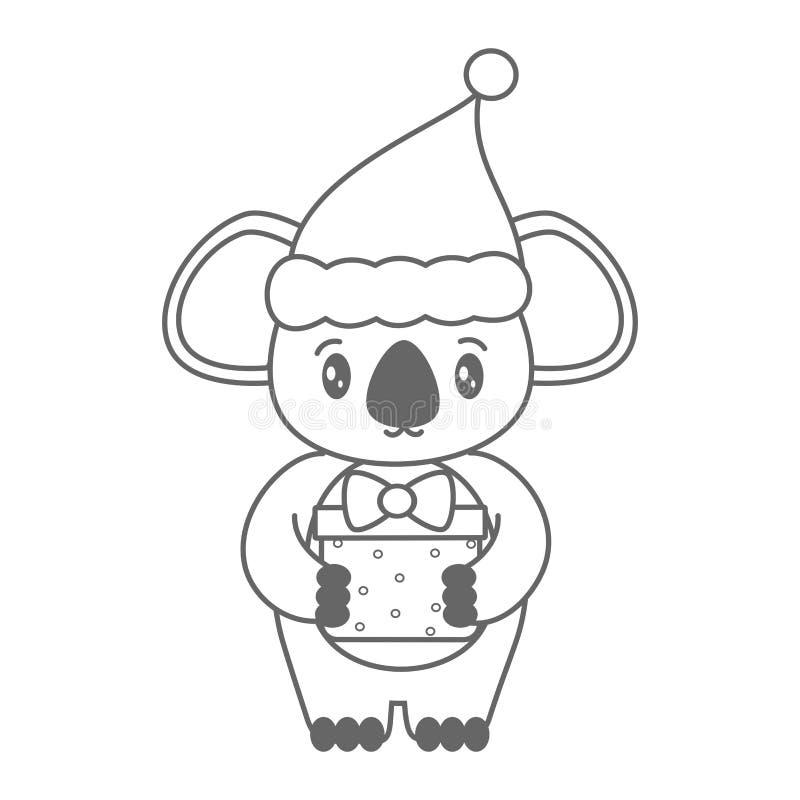 Милая черно-белая коала мультфильма с иллюстрацией вектора рождества шляпы и подарочной коробки santa для крася искусства бесплатная иллюстрация