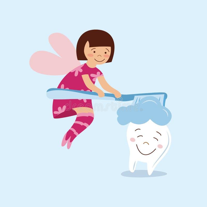 Милая чистка девушки феи зуба мультфильма и чистить усмехаясь зуб щеткой с зубной щеткой иллюстрация штока