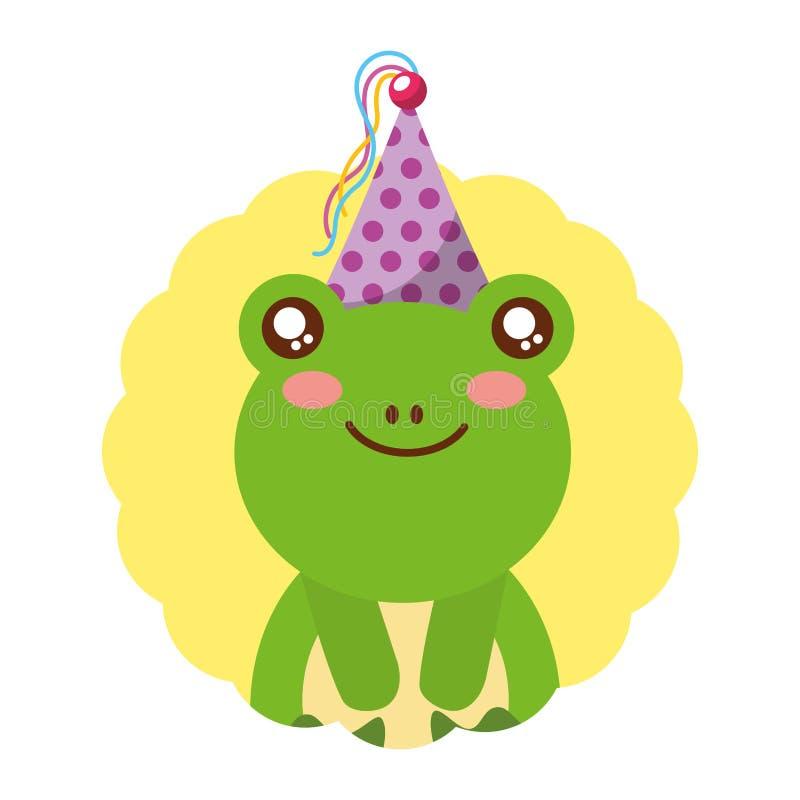 Милая шляпа дня рождения лягушки иллюстрация штока