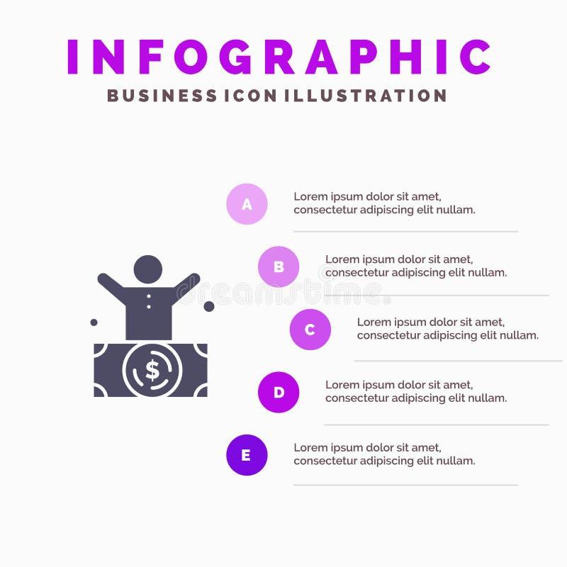 Миллиардер, человек, миллионер, человек, богатая твердая предпосылка представления шагов Infographics 5 значка бесплатная иллюстрация
