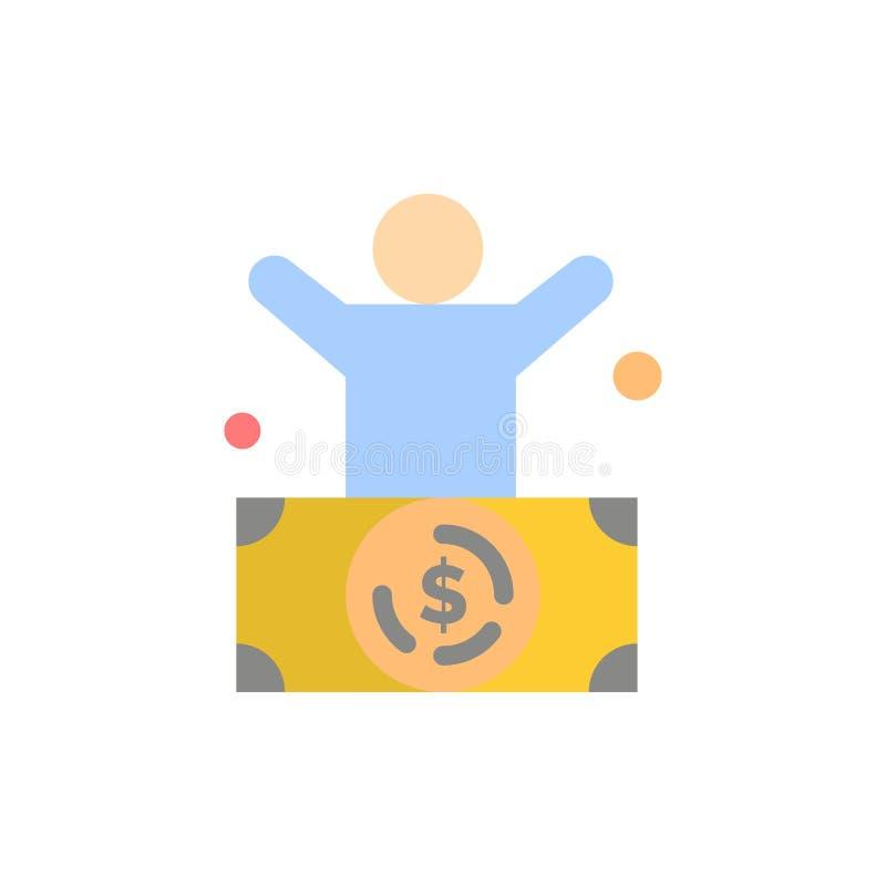 Миллиардер, человек, миллионер, человек, богатый плоский значок цвета Шаблон знамени значка вектора бесплатная иллюстрация