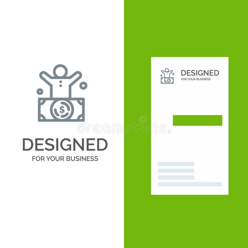 Миллиардер, человек, миллионер, человек, богатый серый дизайн логотипа и шаблон визитной карточки иллюстрация штока