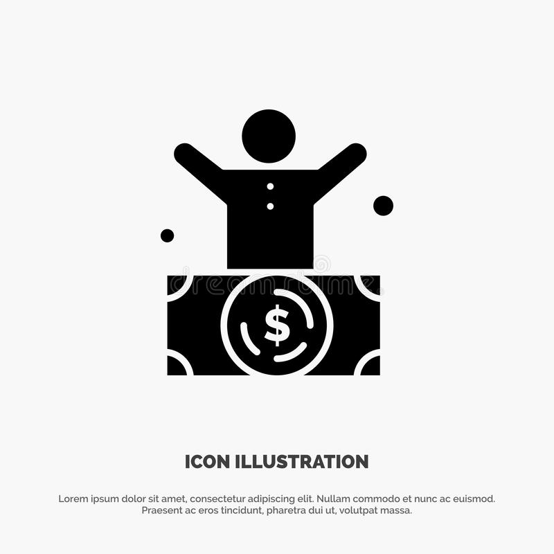 Миллиардер, человек, миллионер, человек, богатый твердый вектор значка глифа иллюстрация вектора