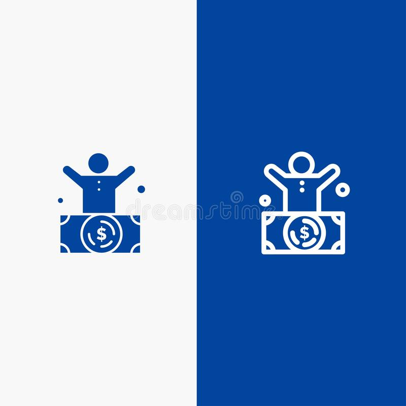 Миллиардер, человек, миллионер, человек, значка линии и глифа знамени богатого значка линии и глифа твердого знамя голубого тверд бесплатная иллюстрация