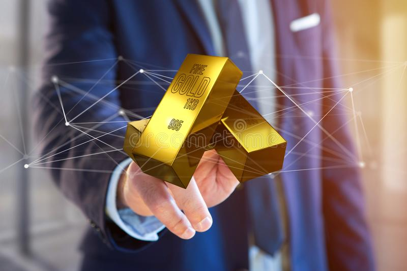 Миллиард золота shinning перед соединением - 3d представляют стоковое фото rf