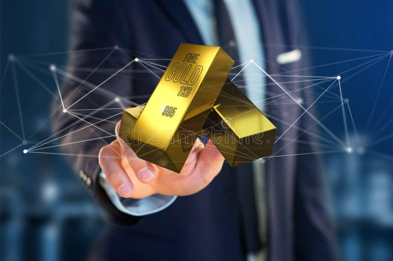 Миллиард золота shinning перед соединением - 3d представляют стоковое изображение