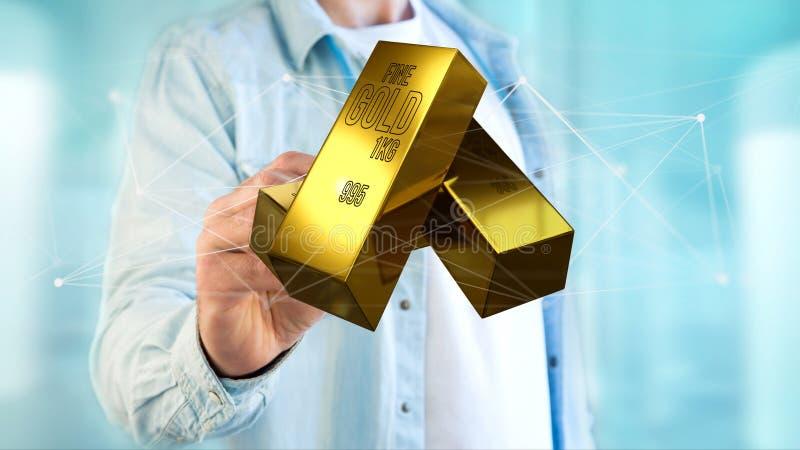 Миллиард золота shinning перед соединением - 3d представляют стоковое фото