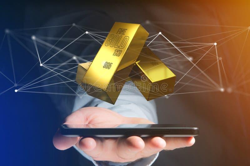 Миллиард золота shinning перед соединением - 3d представляют стоковая фотография rf
