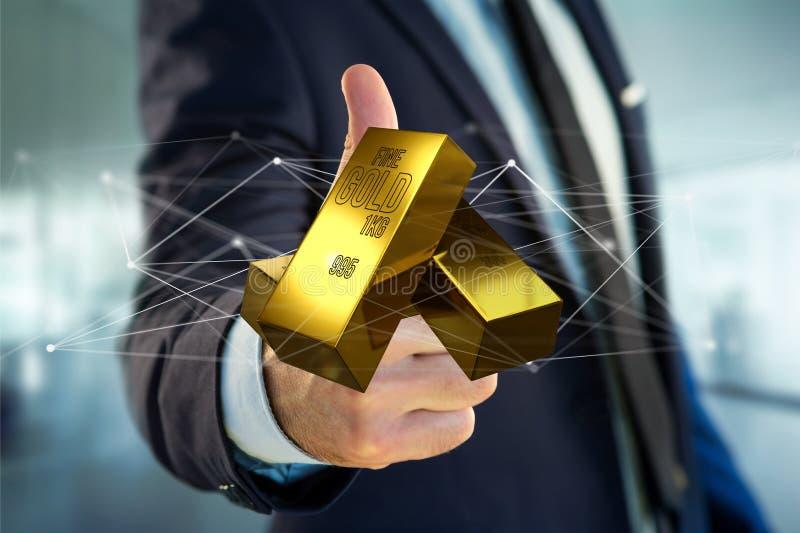 Миллиард золота shinning перед соединением - 3d представляют стоковая фотография